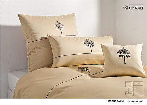 GRASER luxury bed linen - embroidery on mako satin - mod. Lebensbaum