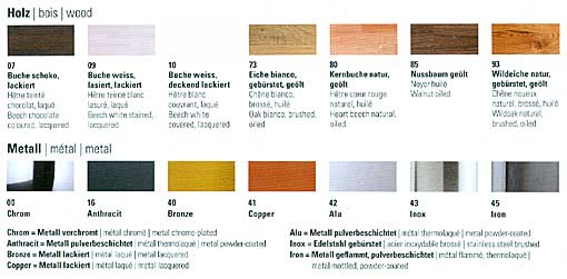 wood and metal finishes