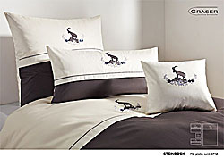 GRASER luxury bed linen - embroidery on mako satin - mod. Steinbock